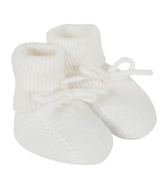 White Knitted Newborn Baby Booties