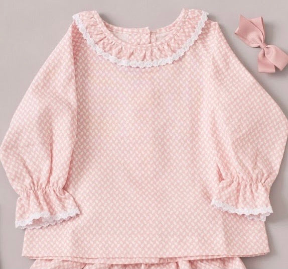 Cecilia Belle Pink Leaves Blouse  - 3-6 months