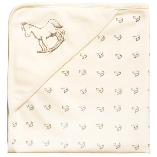 The Little Tailor Rocking Horse Print Swaddling Blanket