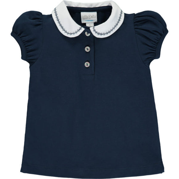 Polo Shirt With Navy Embroidered Collar