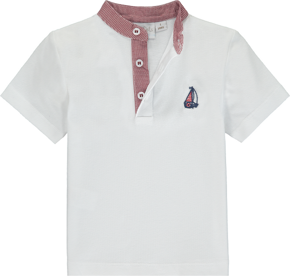 Polo Shirt With Red Check Collar