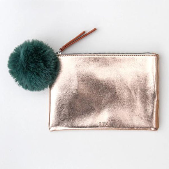 Caroline Gardner Rose Gold Pouch with Green Pom