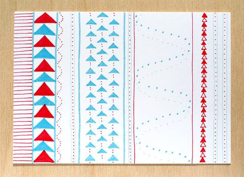Five Patch Design Hand Illustrated Red and Blue Crazy Quilt Any Occasion Cards (Set of 6)