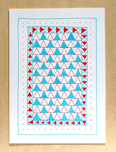 Five Patch Design Hand Illustrated Red and Blue Triangles Any Occasion Greeting Card