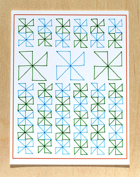 Five Patch Design Hand Illustrated Blue, Green and Orange Pinwheels Coloring Card