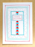 Five Patch Design Hand Illustrated Red and Blue Quilt Happy Birthday Greeting Card