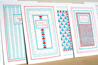 Five Patch Design Hand Illustrated Red and Blue Quilt Happy Birthday Greeting Card Shown with Other Cards