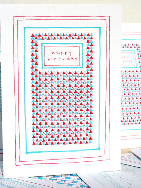 Five Patch Design Hand Illustrated Red and Blue Colored Triangles Happy Birthday Greeting Card Shown with Other Cards