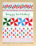Five Patch Design Hand Illustrated Pinwheels Crazy Quilt Happy Birthday Greeting Card