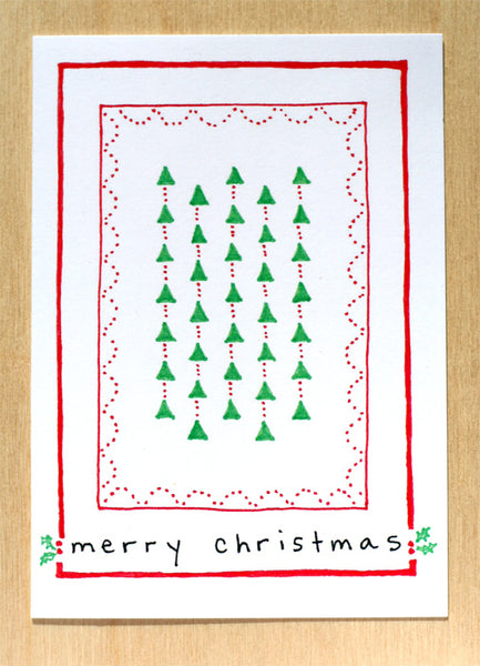 Five Patch Design Hand Illustrated Trees and Holly Merry Christmas Greeting Cards (Set of 6)