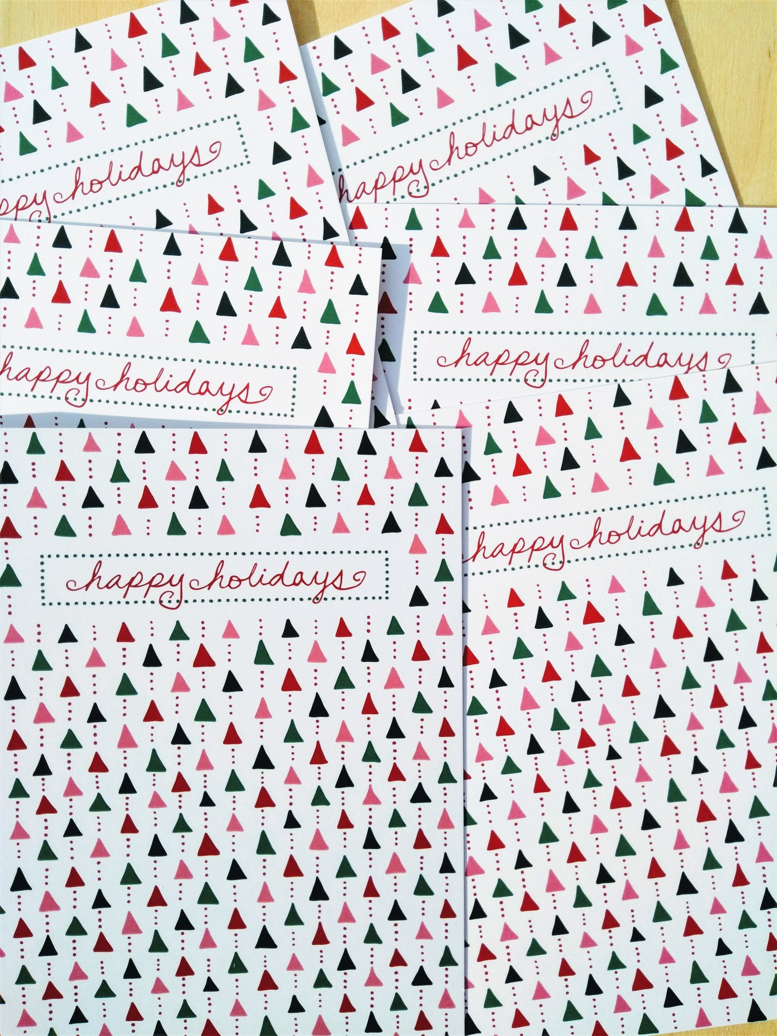 Trees and Dots Happy Holidays Greeting Card (Single or Set of 6)
