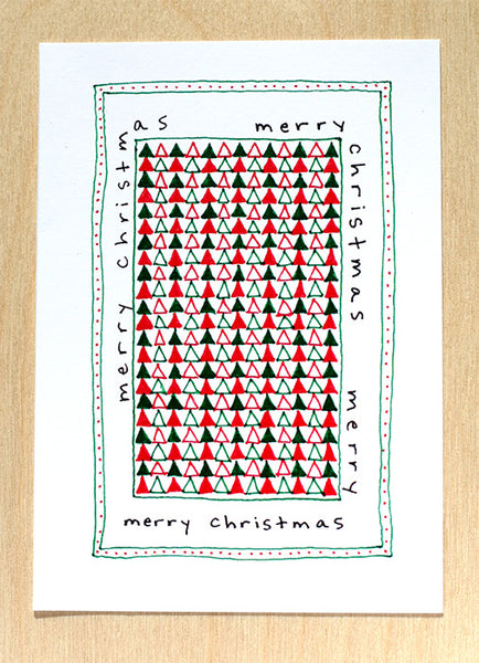 Five Patch Design Hand Illustrated Word Wrap Quilt Merry Christmas Greeting Cards (Set of 6)
