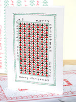 Five Patch Design Hand Illustrated Word Wrap Quilt Merry Christmas Greeting Cards (Set of 6) Displayed Upright on Table