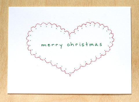 Five Patch Design Hand Illustrated Simple Heart Merry Christmas Greeting Cards (Set of 6)