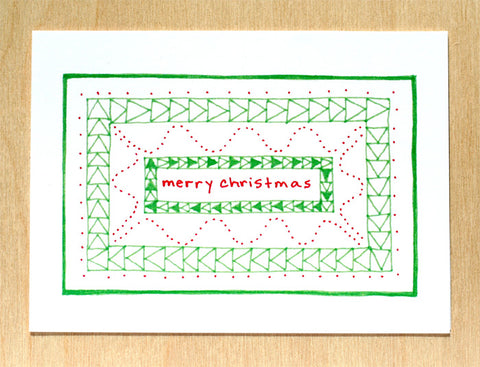 Five Patch Design Hand Illustrated Green Quilt Merry Christmas Greeting Cards (Set of 6)