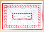 Five Patch Design Hand Illustrated Red Quilt Merry Christmas Greeting Card