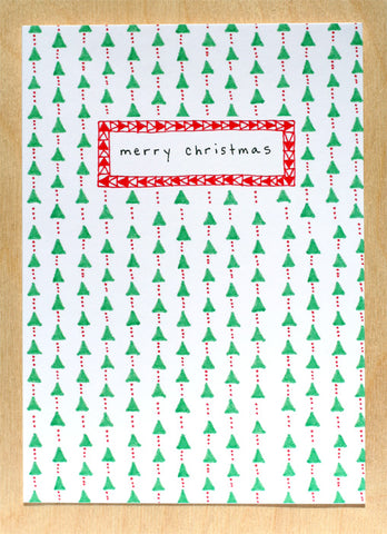 Five Patch Design Hand Illustrated Trees and Dots Merry Christmas Greeting Card