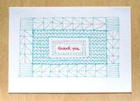 Five Patch Design Hand Illustrated Red and Blue Quilt Thank You Greeting Cards (Set of 6)