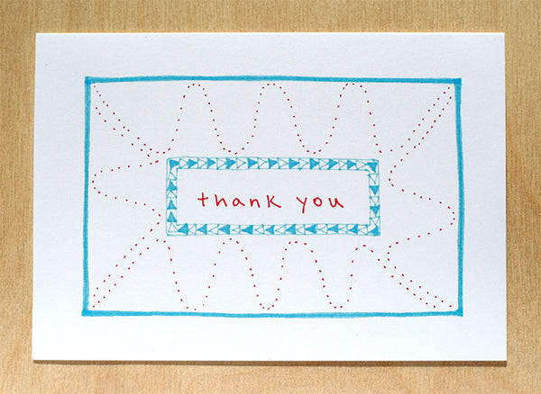 Five Patch Design Hand Illustrated Red and Blue Squiggles Thank You Greeting Cards (Set of 6)