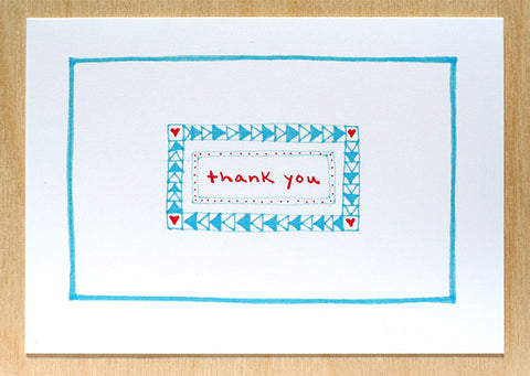 Five Patch Design Hand Illustrated Red and Blue Simple Thank You Greeting Cards (Set of 6)