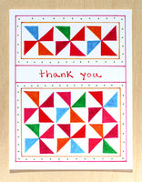 Five Patch Design Hand Illustrated Pinwheels Thank You Greeting Card