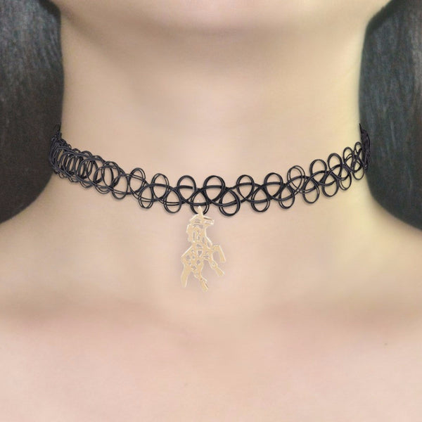 Hors Pendant Black Lace Chokers Necklace