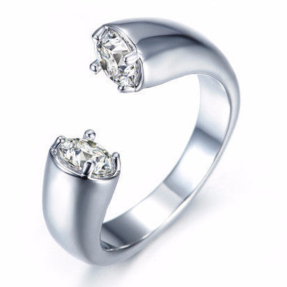 Cubic Zircon White Gold Plated Ring