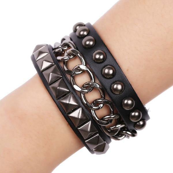 Punk leather bracelet jewelry rivets bracelet