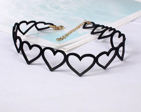 Fabric Heart Choker Necklace