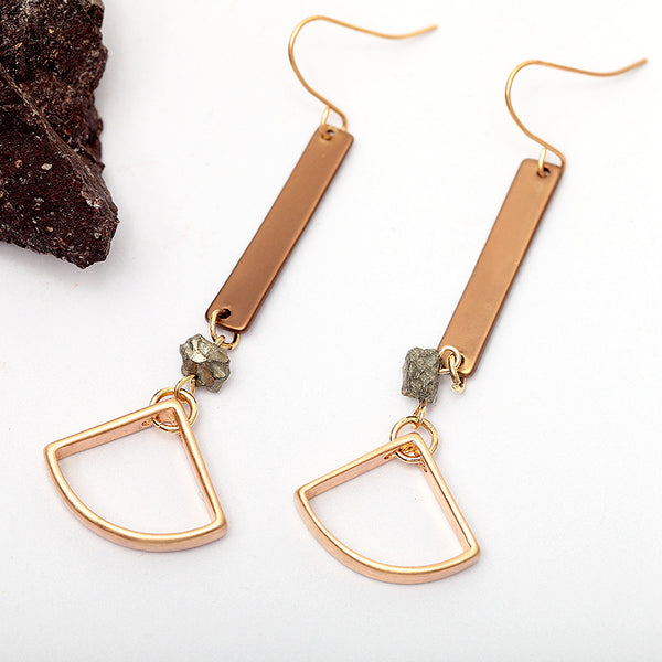 Gray Natural Stone Drop Earrings