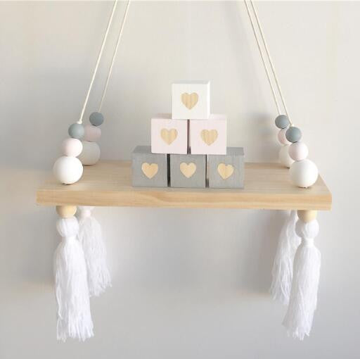 Original Wood Beads Wall Shelf Storage Shelves