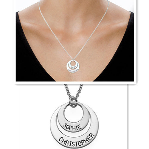 Mother Daughter Nameplate Necklace Double Pendent