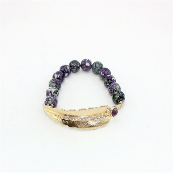 natural stone beads with leaves bracelet