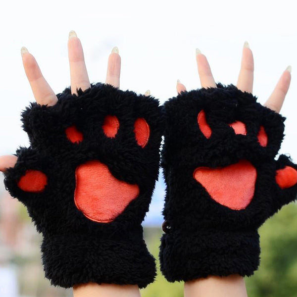 Fluffy Animal Paw Gloves