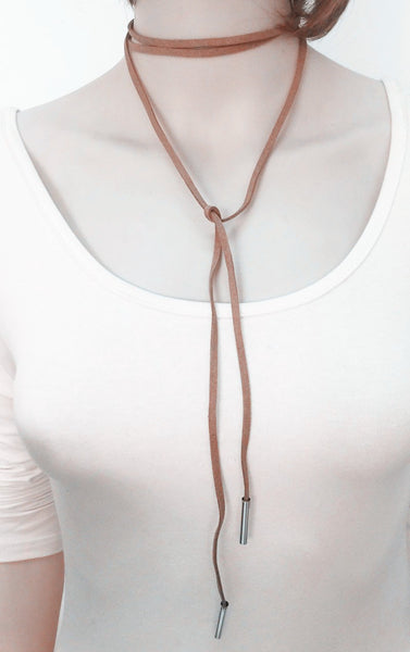 Leather bow choker necklace