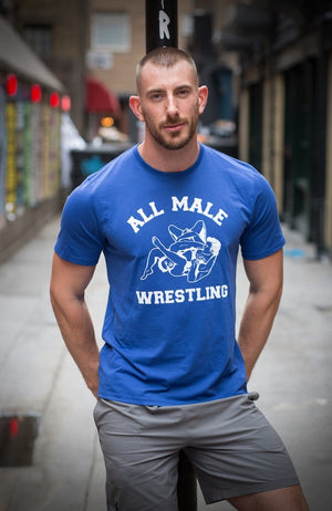 All Male Wresting T-Shirt - Blue