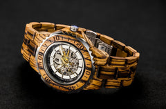 DREAMY WOOD Infinity IN0202 classic Mens Automatic Wood Watch, 100% Natural Zebra Wood Wrist Watch