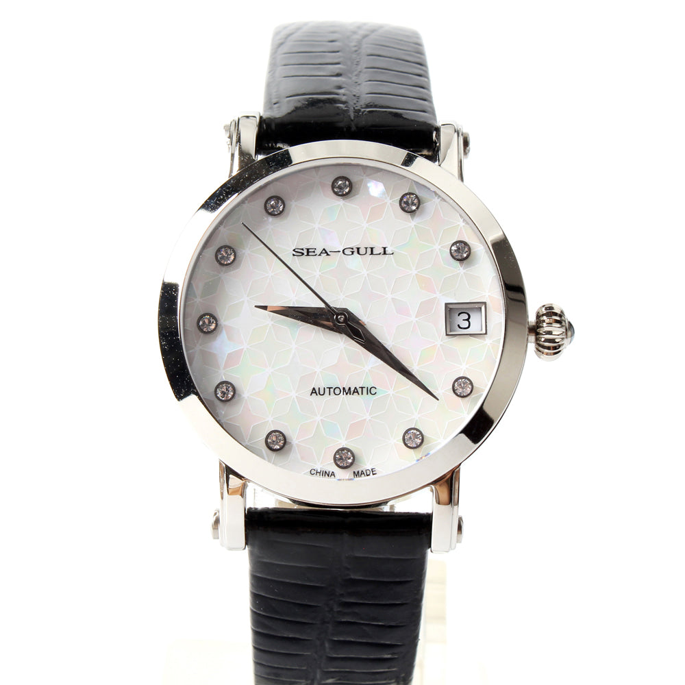 Seagull Rhinestones Bezel Mother of Pearl Dial Onion Crown Exhibition Back Women Automatic Mechanical Watch 819.387