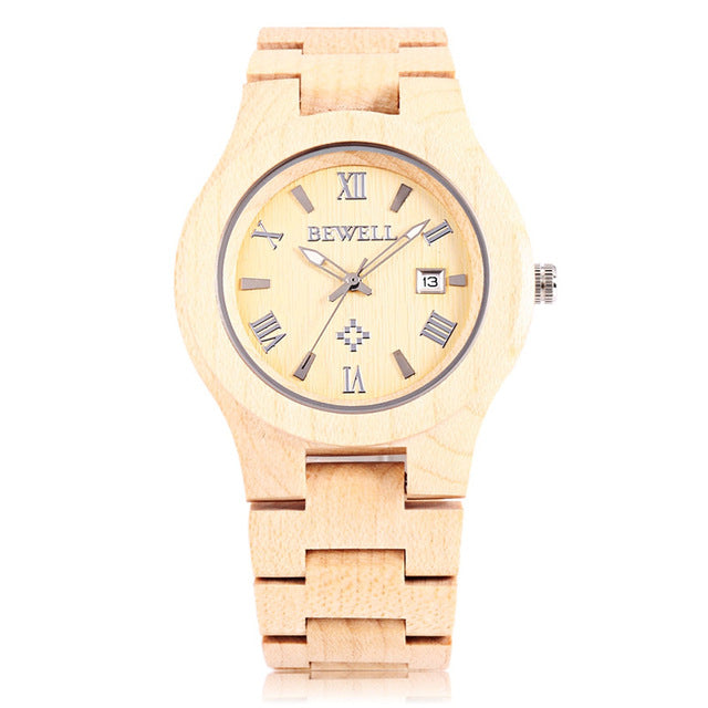 Bewell ZS - W127A New Arrival Men Wooden Quartz Watch Date Luminous Display Japanese Movement Wristwatch Fashion Watches relogio masculino 2017