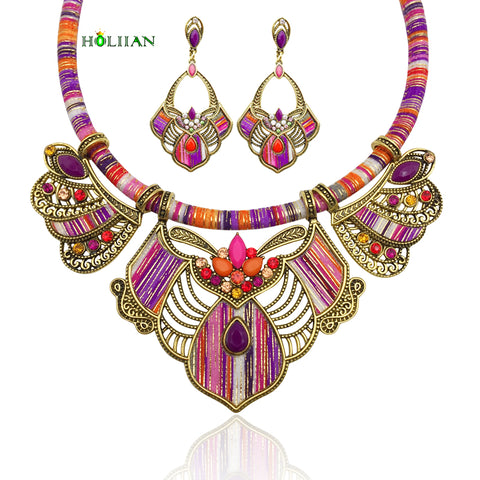 Women bohemia necklace&pendants plus earrings multicolor choker necklace plus earrings boho female big ethnic collar 2018 maxi fashion jewelry new