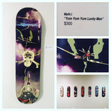 """yum yum yum lucky man"" Original Skateboard Deck Artwork by Math.I"