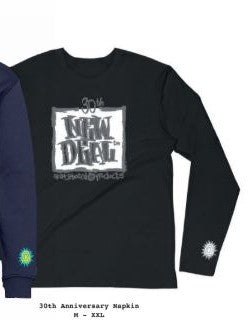 New Deal Skateboards WTF 30th Anniversary Napkin Logo  L/S Black T-Shirt