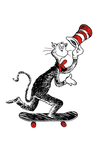 Almost x Dr Seuss Cat Push Skateboard Sticker