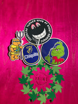 Prime x World Industries 4x Sticker lot Rocco Bear, Jason Lee Grinch, Jovontae High at Night, Turner Banana