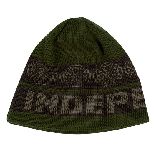 Independent Woven Crosses Skull Cap Beanie Olive/Black Mens Hat