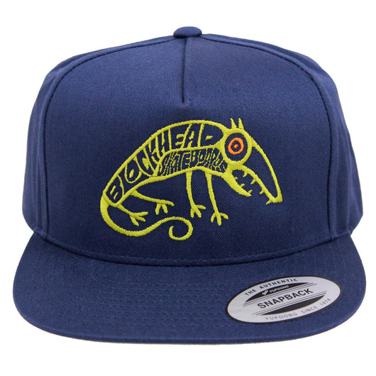 Blockhead Skateboards Skate Rat 5 Panel Snapback Navy Blue Hat