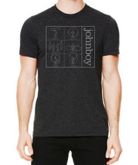 johnboy Charcoal-Black T-Shirt with Trance Syndicate Logo on back