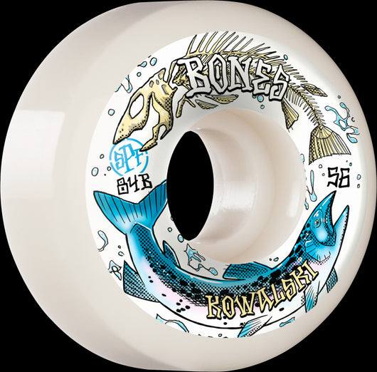 BONES SPF Pro Kowalski Salmon Spawn P5 Sidecut 56mm 84B White Skateboard Wheels