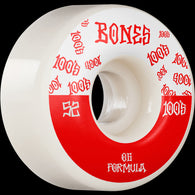BONES WHEELS 100 #13 52mm V4 Wide White OG Formula Skateboard Wheels