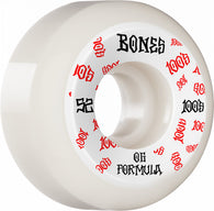 BONES WHEELS OG Formula 100 #3 V5 Sidecut White Skateboard Wheels